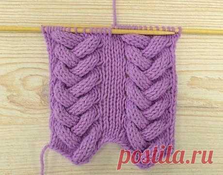 Оригинальное вязание кос спицами.