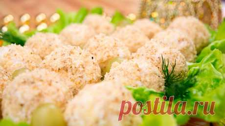 Закуска «Куриные шарики с виноградом» / Простые рецепты