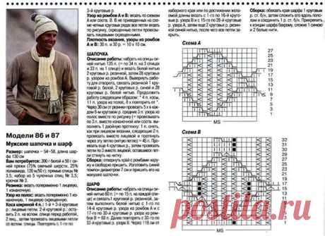 МК по вязанию спицами мужской шапки и шарфа с подробным описанием и схемой