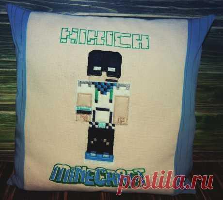 """подушка для ребенка,по мотивам игры """"minecraft""""  ,размер 35*35 см"""