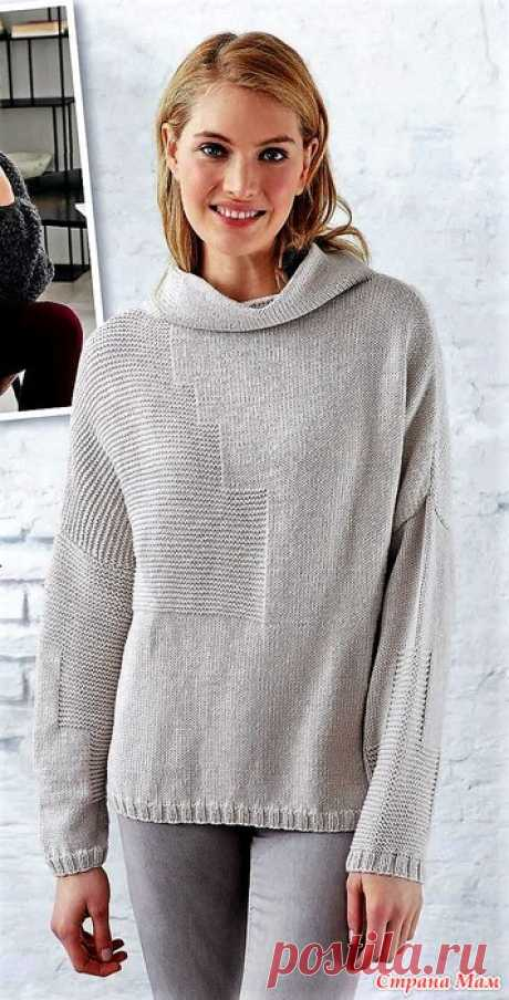 Пуловер с асимметричным рельефным узором. Спицы. Вязание - ваше хобби №10 2018.