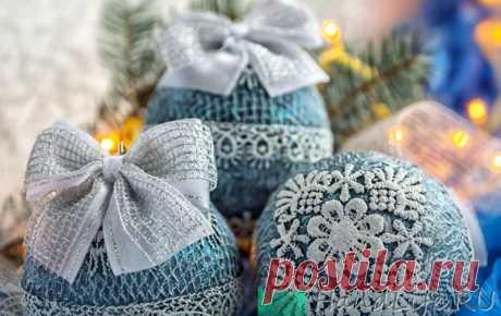Декор шаров, кружево (видео) / Новый год!
