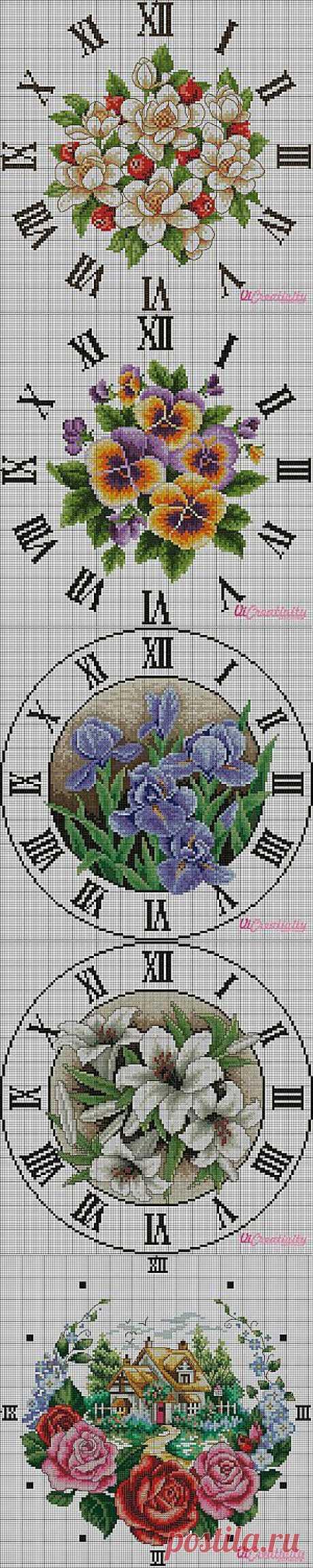 Часы с цветами (подборка бесплатных схем) | Все о рукоделии - мастер классы, инструкции, пошаговые фото