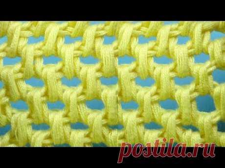 Начинаем вязать – Видео уроки вязания » Соты – Узор тунисского вязания №73