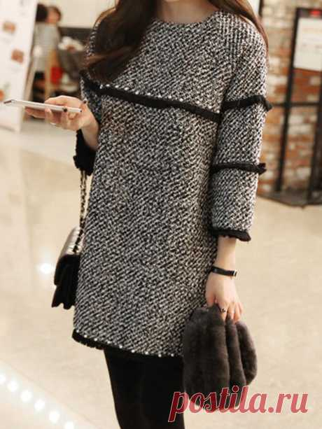 Knitted Casual 3/4 Sleeve Casual Fringed Dress - PopJuLia.com