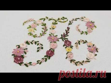 Watch : Flower letter K   Floral embroidery    Буква К : Цветочная вышивка