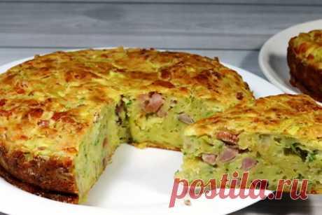 Пирог с кабачками с ветчиной и сыром – пошаговый рецепт с фотографиями
