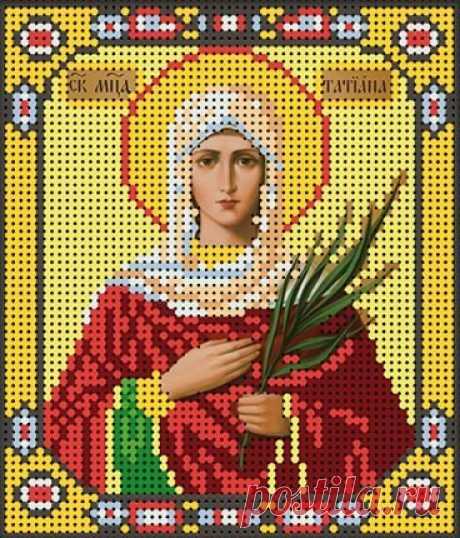 Схема вышивки иконы крестиком бисером Св.Вмц Татьяны