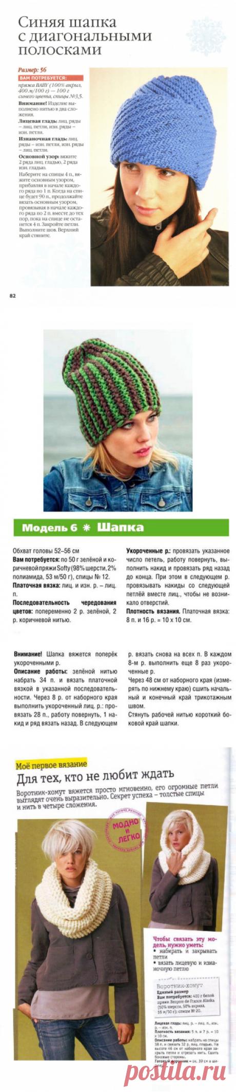 Вязаные шапки спицами для женщин с описанием и схемами осень-зима 2018-2019