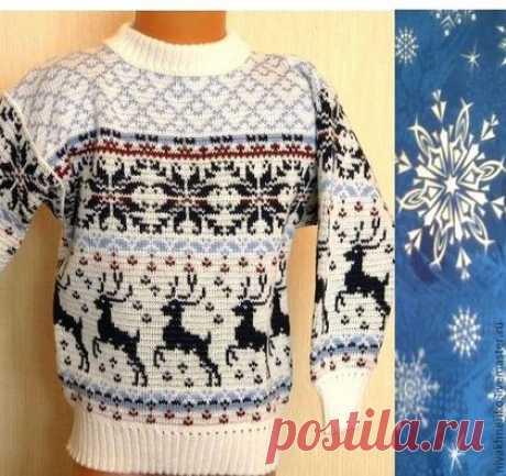 Купить Вязаный свитер с норвежским узором Олени - авторский трикотаж, норвежский узор, жаккард