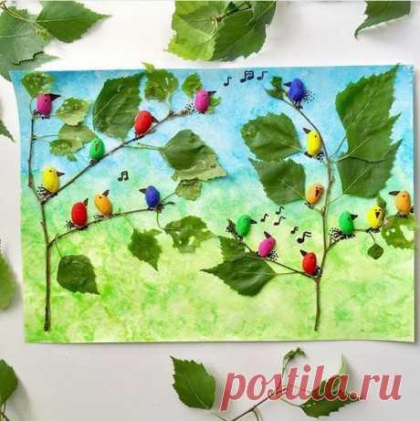 Поделки из природного материала. птички-фисташки запели весеннюю песенку на березе. — Поделки с детьми