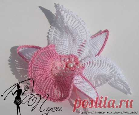 "Цветы крючком - МК Цветок ""Орхидея"" от Пуси"