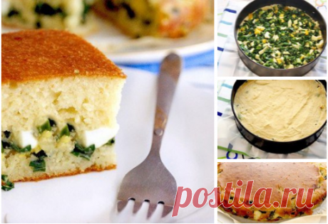 Tasty and fast jellied green onions and egg pie