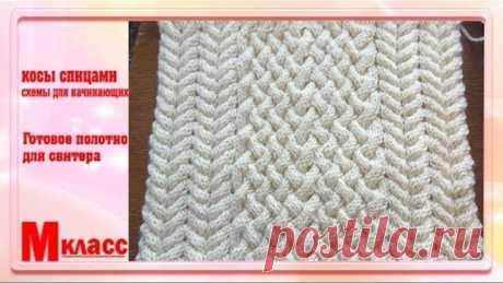 КОСЫ СПИЦАМИ - схемы для начинающих | Knitted Cable Stitch Pattern
