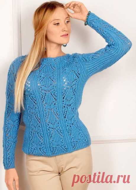 Пуловер ажурным узором