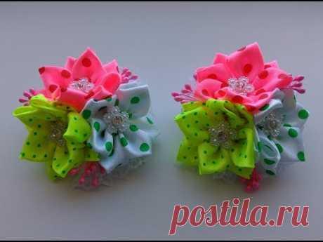 Bows from satin ribbons of 2,5 cm of MK Kanzasha \/ Bows of satin ribbons 2.5 cm. MK Kanzashi
