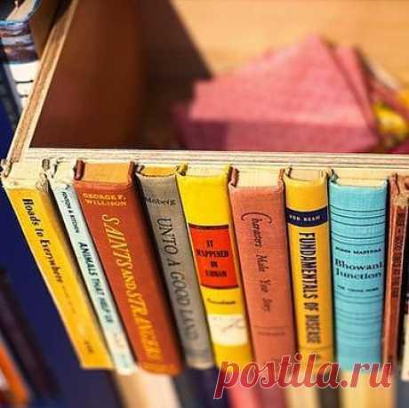 Простой ящик превращается в тайное хранилище для хранения данных, который будет соответствовать виду полок вашей библиотеки. Соберите старые и учебники и романы, удалите лишнее, а затем горячим клеем приклейте их к одной стороне ящика. Теперь ваш книжный шкаф может быть более универсальным, чем когда-либо!