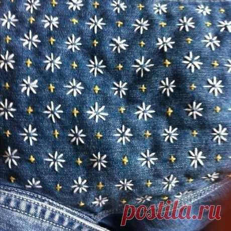 Сашико джинсовой рубашки