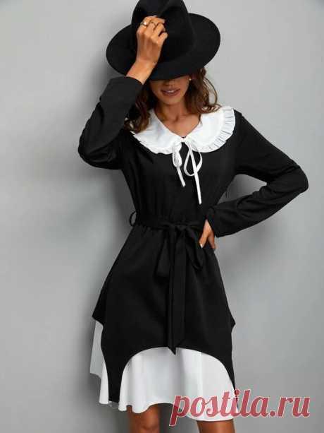 Платье с воротником питер пэн двухцветный с поясом 2 в 1 | SHEIN Россия