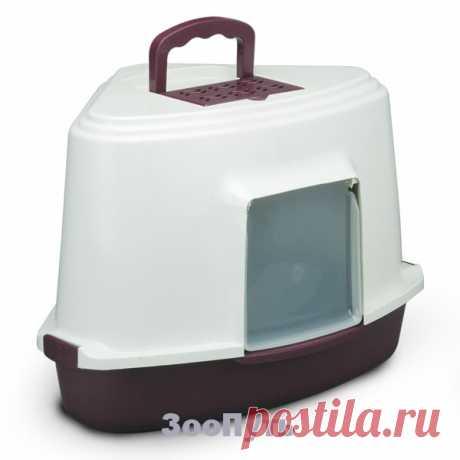 Triol Туалет для кошек закрытый угловой (совок в комплекте), 565 х 425 х 400 мм. Цена 1 588 руб. в магазине ЗооПуть. - Зоомагазин
