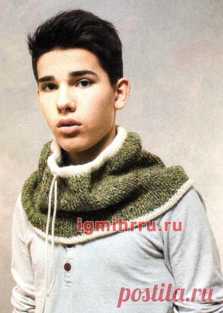 Мужской теплый шарф-воротник. Вязание спицами