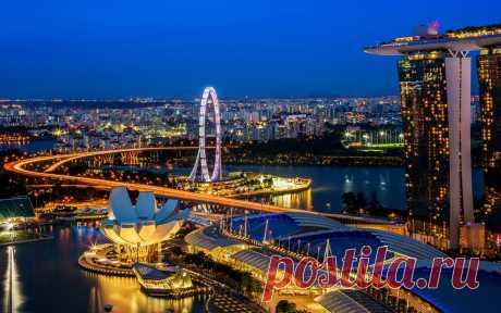 Singapore, город, ночь обои, фото, картинки