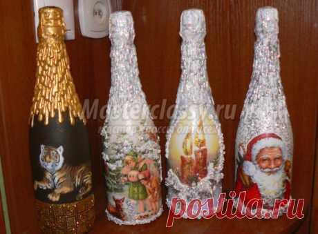Бутылка шампанского на Новый год своими руками. 50 идей и подробные мастер-классы с фото