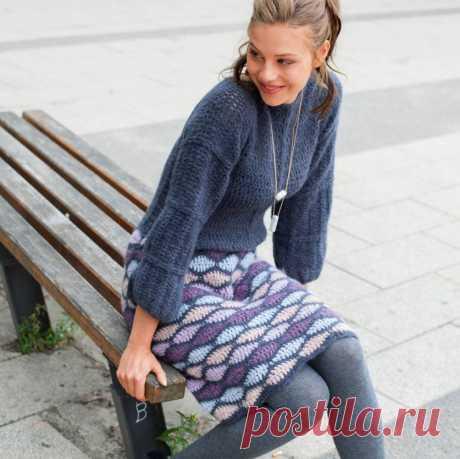 Платье для холодного сезона с многоцветной юбкой — Рукоделие