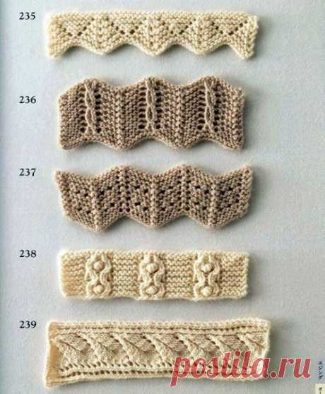 Коллекция красивых узоров для оформления края спицами. 2