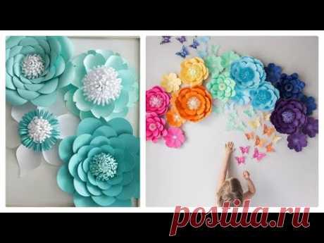 Интерьерные цветы, большие цветы, из офисной бумаги, из гофрированной бумаги, идеи, подборка