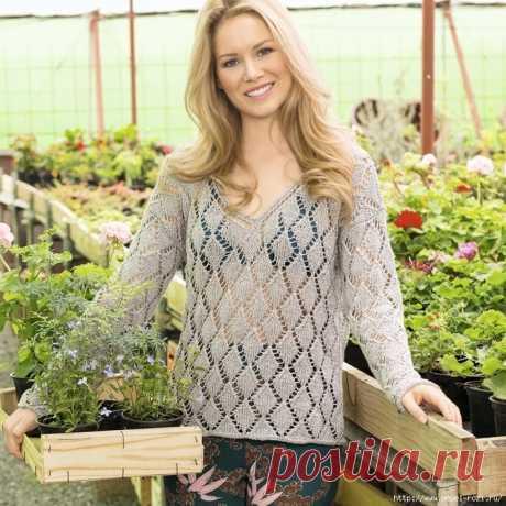 Воздушный пуловер из льна с узором из ромбов!