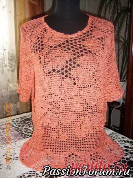 Летняя блуза (филейка) - запись пользователя Tancha (Татьяна) в сообществе Вязание крючком в категории Вязание крючком. Ваши работы