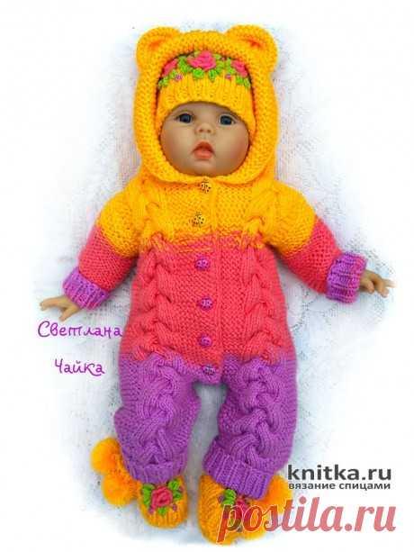 Комбинезон для новорожденного спицами № 5 (круговые) , № 4,5 ( носочные) для резинки