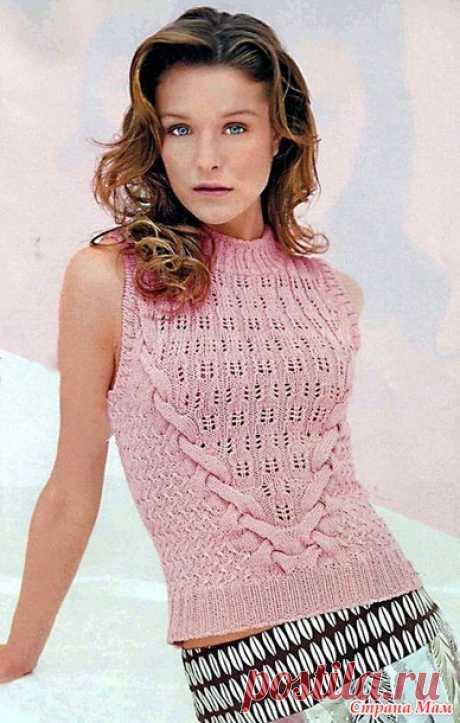 Розовая женская вязаная безрукавка - Вязание спицами - Страна Мам