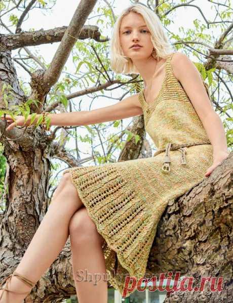 Летнее вязаное платье на бретелях — Shpulya.com - схемы с описанием для вязания спицами и крючком