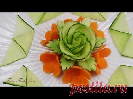 Красивый дизайн огурца и розы - лучший растительный карвинговый отдел