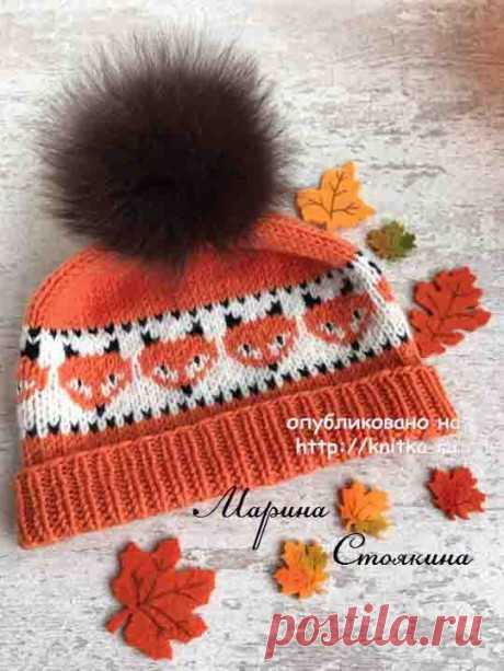 Hat with chanterelles. Marina Stoyakina's work, Knitting for children