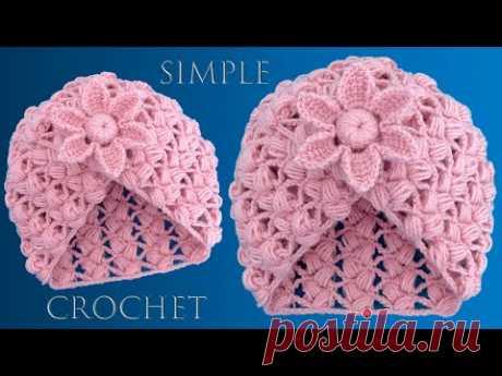 Gorro fácil a Crochet tejido con un rectángulo Punto pétalos de flores en relieve 3D