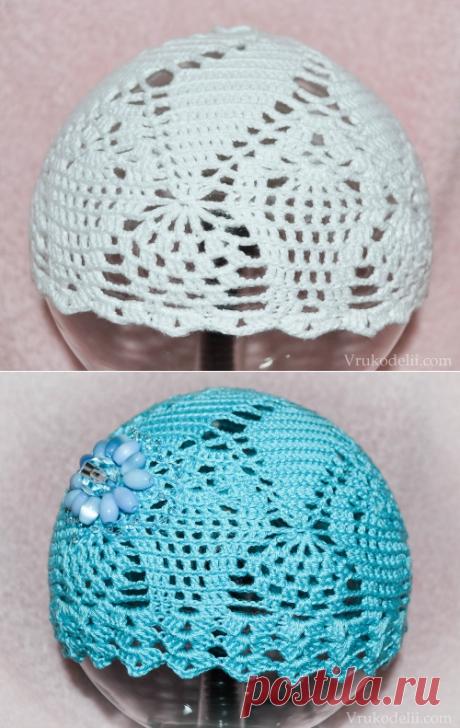 Легкая ажурная шапочка для девочки / Вязание для детей / В рукоделии