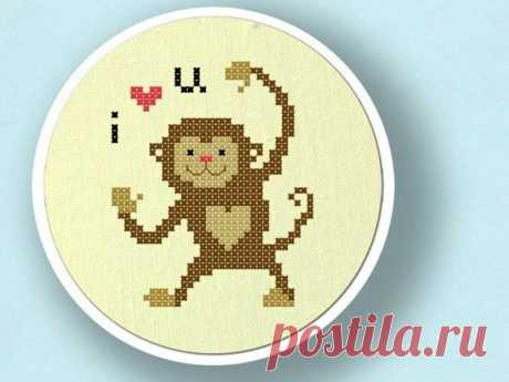 Monkey love Cross Stitch Pattern Animal Cross Stitch Modern   Etsy