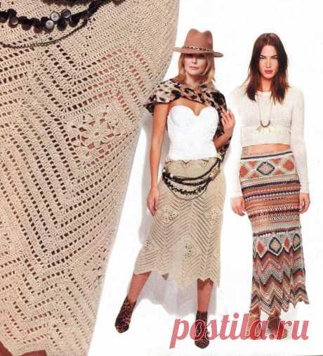 """Красивая юбочка в стиле """"бохо"""" Светланы Волкодав. Опубликована в Журнале мод. Вязание."""