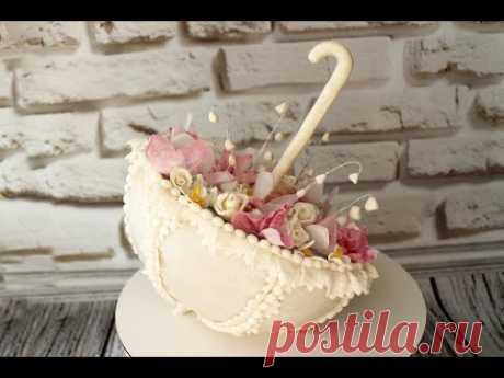 Торт ЗОНТ с цветами! ...Я долго ломала голову, как же установить зонт БОКОМ! Вес торта 2,8 кг Внутри нежная творожно-шоколадная начинка с хрустящим слоем и коньячной пропиткой.