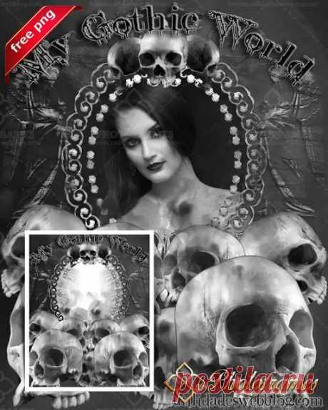 Plantilla blanco y negro para enmarcar tus fotos al estilo Gothic | Marcos y fondos para fotos de ocasiones especiales | Photo Frames