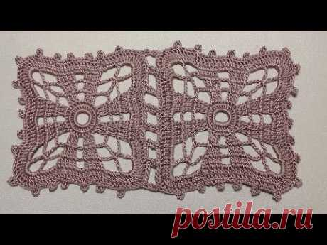 Узор для скатерти. Как вязать ажурный КВАДРАТ крючком. Crochet square