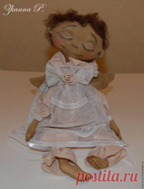 Купить Интерьерная игрушка ручной работы Ангел - бежевый, коричневый, ангел, ангелочек