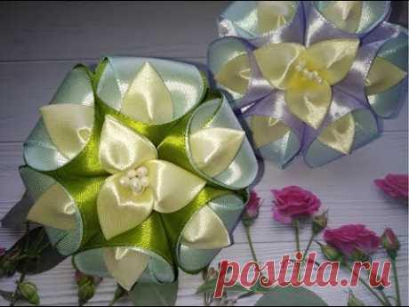Цветы из лент канзаши. Как сделать цветы из лент. Цветы  из лент.
