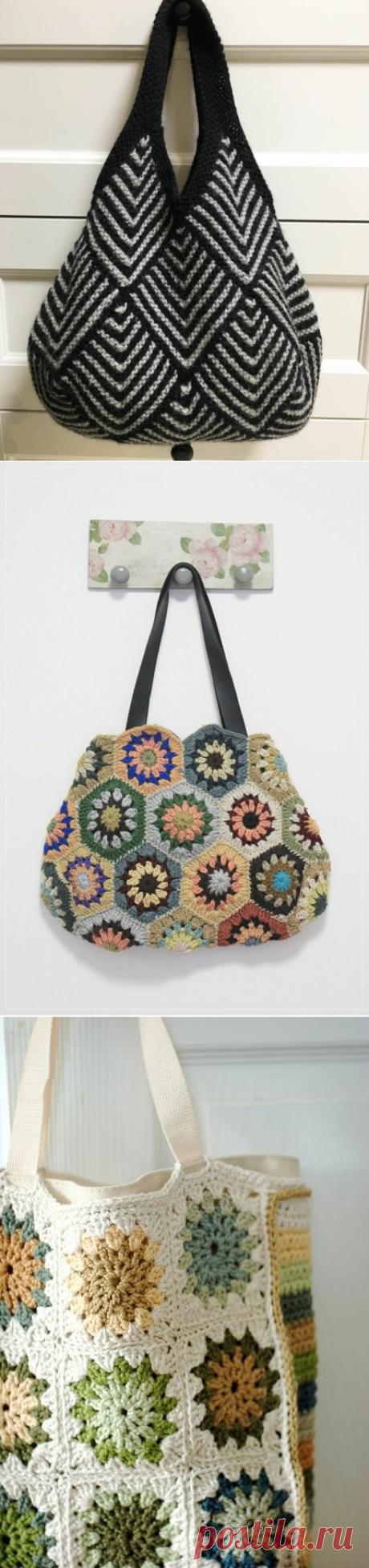 Летняя подборка стильного вязания из бабушкиного квадрата + схемы. Часть 1 - Сумки   TurtleKnitt   Яндекс Дзен
