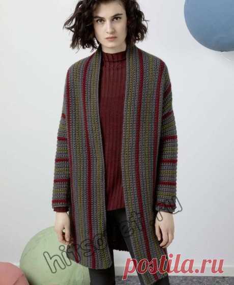 Пальто крючком - Хитсовет Модное женское пальто связанное крючком с пошаговым бесплатным описанием вязания.