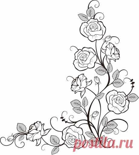 バラのイラスト・画像No.203『バラの装飾素材・コーナー用』/無料のフリー素材集【百花繚乱】