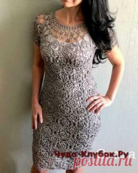 Платье крючком цвета серебра 1  